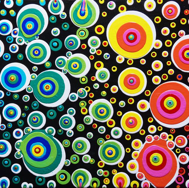 """""""Rainbow Abstract Blobs""""   15X30 in.   Acrylic on Canvas"""