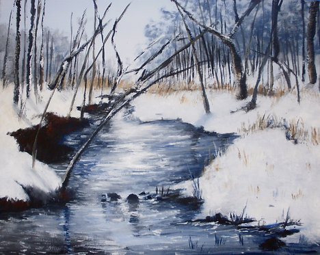 winter stream oil landscape painting christmas gift snow 16x20