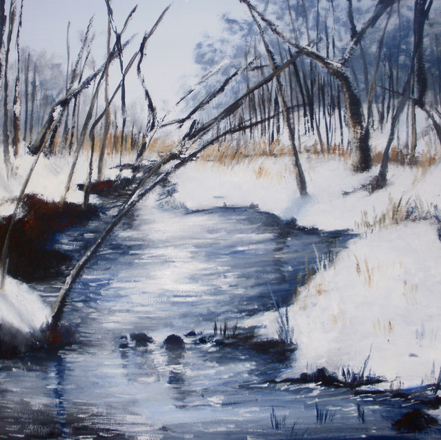"""Winter Stream""   16X20 in.   Oil on Canvas"