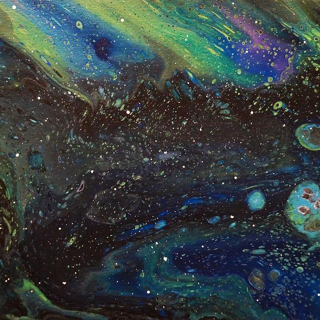 """Green Star Galaxy""   11X13 in.   Acrylic on Canvas"