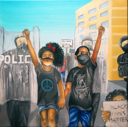 Black lives matter protest painting of boy and girl holding hands.