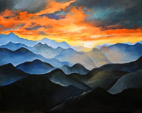 mountain sunset chesapeake bay sunset landscape painting interior decor wall art 16x20