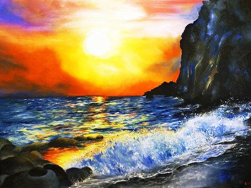 etsy Beach shore ocean sunset oil landscape seascape painting on canvas interior decor wall art cliff rocks 18x24