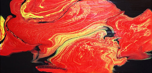 etsy fluid painting, molten lava red black yellow fluid acrylic painting abstract interior decor wall art 10x20
