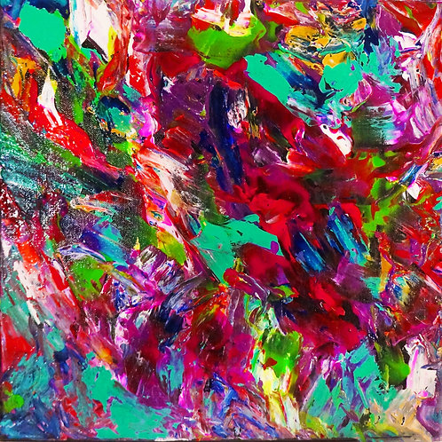 etsy layered abstract handmade colorful palette knife acrylic canvas painting