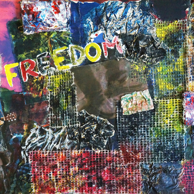 """""""Rockin' in the Free World""""   18X24 in.   Mixed Media on Canvas Panel"""
