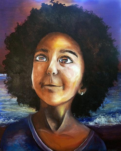 large big surreal black afro portrait painting 24x30