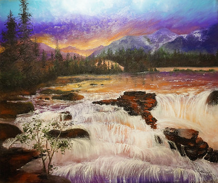 waterfall river rocks oil landscape painting on canvas sunset mountains birds interior decor wall art 20x24