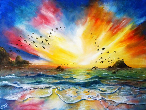 etsy Beach shore seascape oil landscape painting on canvas sunset birds interior decor wall art 18x24