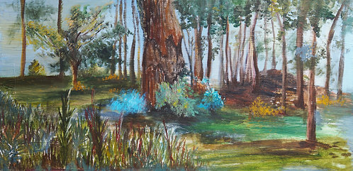 tree forest flower garden landscape painting 12x24 interior decor wall art