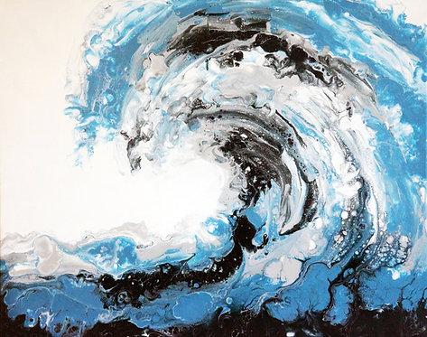etsy big wave acrylic fluid painting silver blue white turquoise