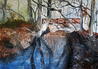 oil painting of a stream in the woods