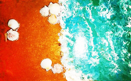 etsy beach starfish fluid sand painting ocean blue turquoise white shells interior decor big painting waves resin art