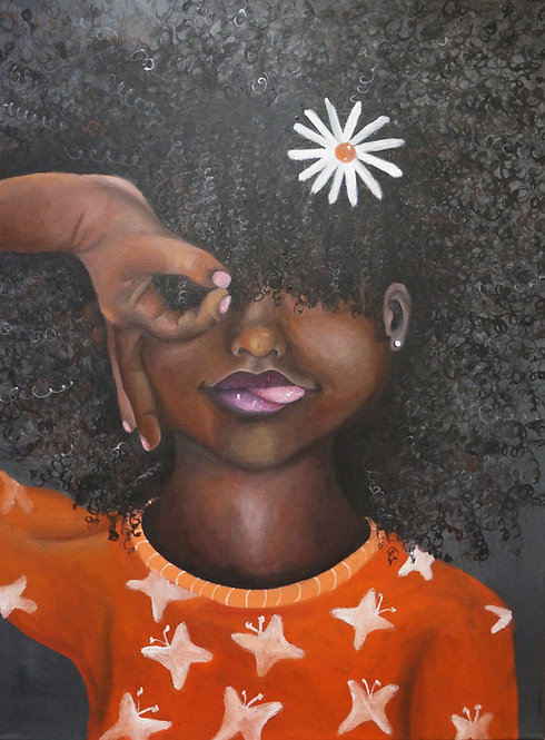 Oil painting of black girl with tongue out and fingers around eye with flower in hair.