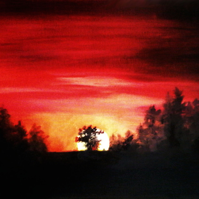 """""""Red Sunset""""   16X20 in.   Oil on Canvas"""