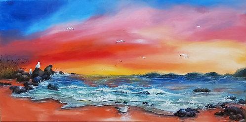 etsy Beach seagulls ocean sunset oil landscape seascape painting on canvas interior decor wall art cliff rocks rainbow 15x30