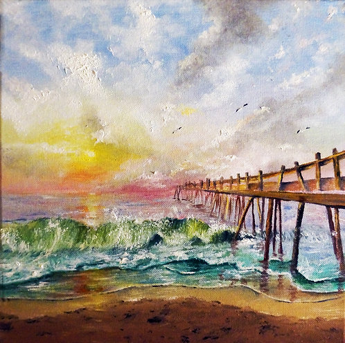 etsy ocean city oil landscape painting ocean beach interior decor wall art waves sunset 12x12