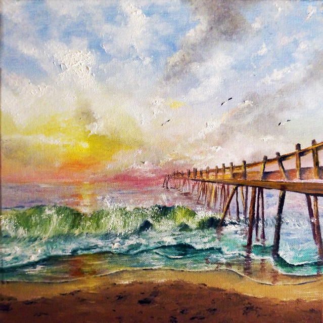 """""""Ocean City, MD""""   12X12 in.   Oil on Canvas"""