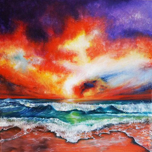 etsy Beach ocean oil landscape painting sunset sky waves sea shore square interior decor wall art 20x20