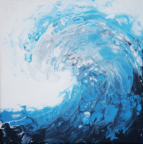 etsy wave fluid painting ocean beach acrylic interior decor wall art canvas painting abstract art modern painting blue
