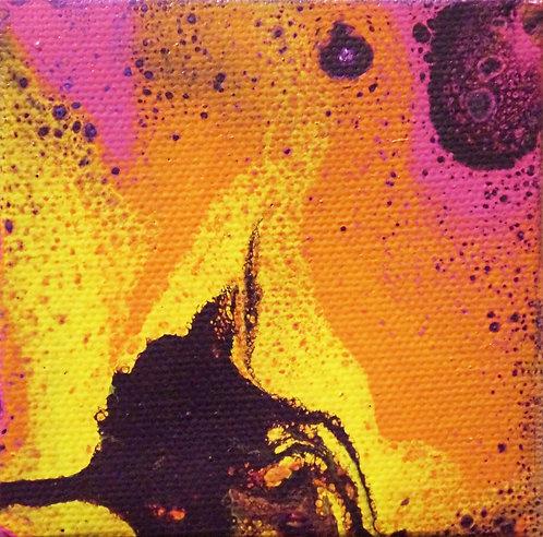 small mini fluid acrylic painting purple yellow pink orange interior decor wall art