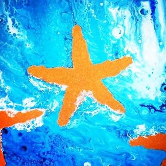 """Starfish Fluid Paintig"" | 16x20 in. | Mixed Media and Acrylic on Canvas"