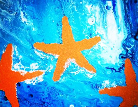 """Starfish Fluid Paintig""   16x20 in.   Mixed Media and Acrylic on Canvas"