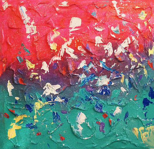 etsy layered abstract handmade colorful palette knife 3D textured acrylic canvas painting