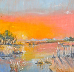 sunset oil painting on wood in manokin md