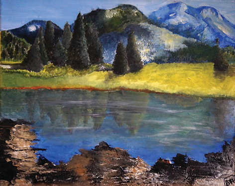 lake mountains oil landscape painting on canvas interior decor wall art 16x20