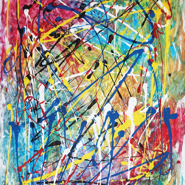 """""""Unhinged""""   24x36 in   Acrylic on Paper"""