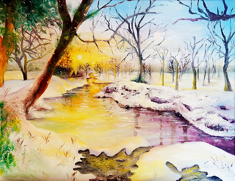 Winter Stream oil landscape painting interior decor wall art 16x20