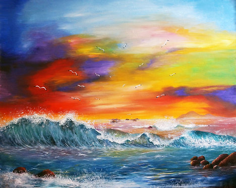 etsy oil beach painting Ocean crashing waves oil landscape seascape painting interior decor wall art birds flying 24x30