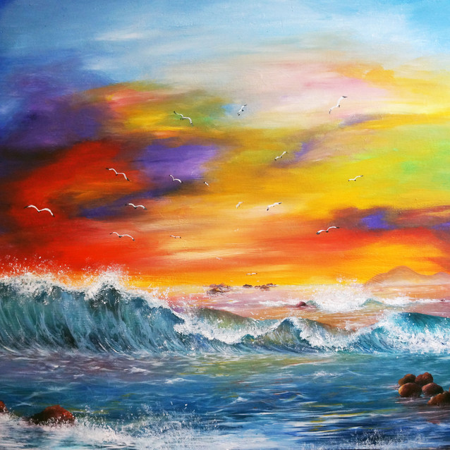 """""""Sight and Sound of Paradise""""   24X30 in.   Oil on Canvas"""
