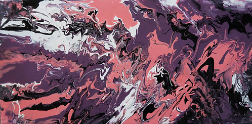 pink purple white fluid painting interior decor wall art 10x20