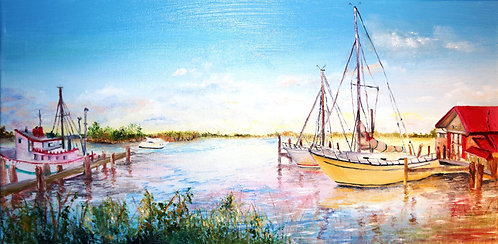 etsy boats dock fishing oil landscape on canvas painting interior decor wall art chesapeake bay maryland 10x20