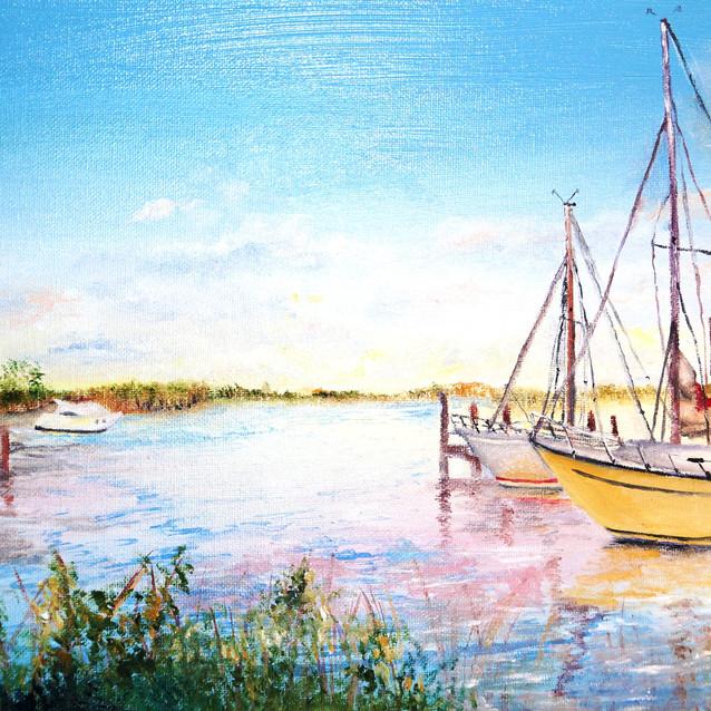 """Fishing Island Rd., Upper Fairmount MD""   10X20 in.   Oil on Canvas"