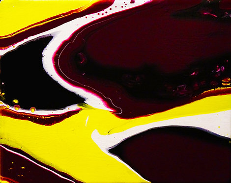 pour art etsy fluid painting abstract painting small painting purple yellow white black interior decor wall art bright modern