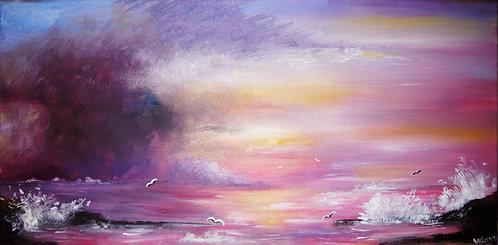10x20 storm ocean birds sea waves seascape oil landscape painting interior decor wall art inspirational art