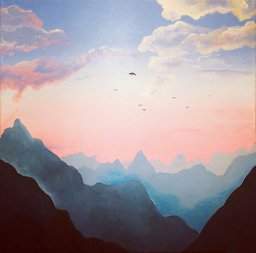 etsy landscape mountain painting, square acrylic landscape painting, mountain clouds, sunset, birds in sky painting, pink