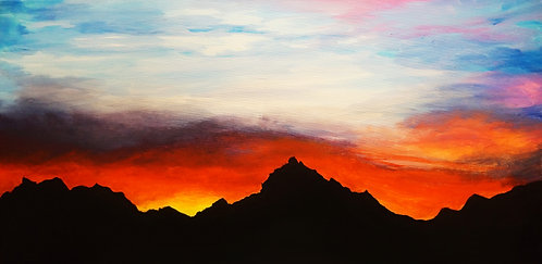 etsy mountains country ocean sunset acrylic landscape painting on canvas interior decor wall art golden hour  15x30