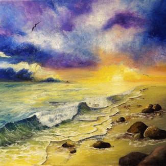"""Winter Beach Sunset"" | 16x20 in. | Oil on Canvas"