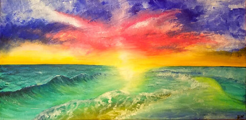 parting of the sea painting seascape oil landscape painting sunset 10x20 interior decor wall art