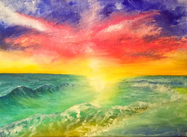 """""""Parting of the Sea""""   10x20 in.   Oil on Canvas"""