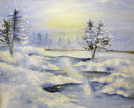 Snow winter oil landscape painting on canvas stream christmas gift interior decor wall art 24x30