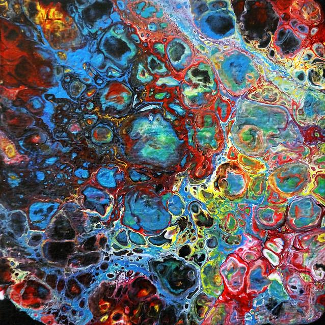"""Crazed Explosion of Rainbow""   7x7 in.   Acrylic on Canvas"