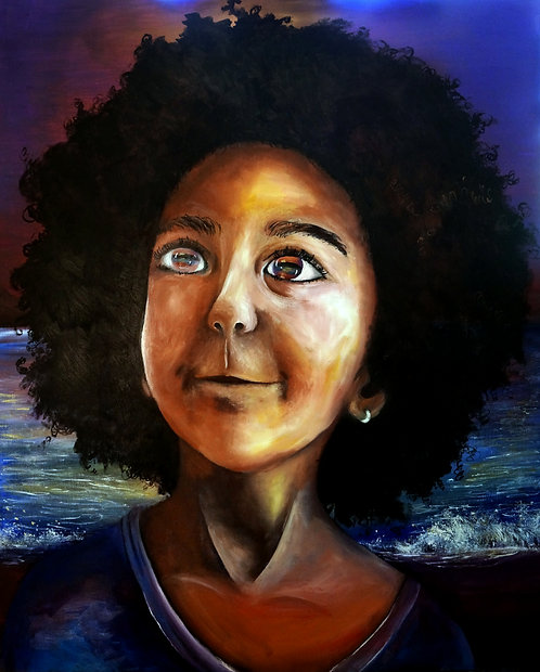 large big surreal african american girl black afro portrait painting 24x30