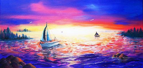 etsy landscape painting horizontal oil painting sunset chesapeake painting maryland sail boats water fishing calm purple pink