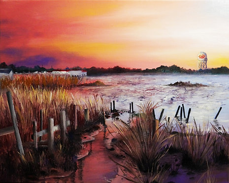 etsy crisfield chesapeake bay sunset oil landscape painting interior decor wall art 16x20