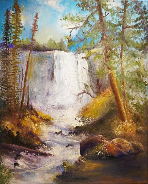 nature waterfall oil landscape painting stream rocks flowers 16x20 interior decor wall art